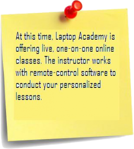 At this time, Laptop Academy is offering live, one-on-one online classes. The instructor works with remote-control software to conduct your personalized lessons.
